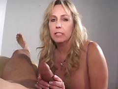 Mature cigarette smoking cock sucking grandma gets a load on her tits