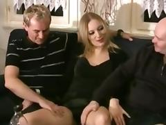 Young blonde cutie in threesome with two old guys
