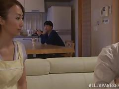 Fingering a Japanese chick before she gives him a handjob
