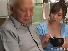 Big boobs Asian pornstar fucks a horny old chap hardcore