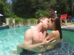 Romantic cowgirl in bikini having her pussy licked before being fucked hardcore at the pool outdoor