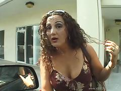 Tattooed cougar with big tits and hot ass giving sensual blowjob before being car fucked in reality shoot