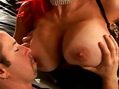 Hot chick with bright red hair loves pussy pounding