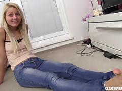 Pretty, Amateur, Blonde, Casting, Cute, Jeans