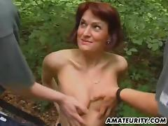 Her hungry cunt needs a hard rod,see this redhead in kinky forest sex