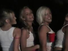 Hot blondes drinking and fucking in lesbo orgy