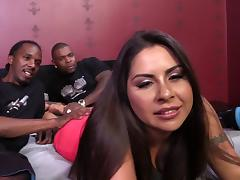 Big breasted chubby brunette takes interracial DP and facial from black studs