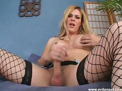 Shemale cowgirl in anal fingering and nasty tit slamming in hot masturbation