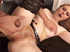 Blonde milf Adel gets her hairy pussy fingered and banged deep
