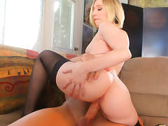Jules Sterling in Hot Blonde Jules Sterling Throats And Fucks Her BF's Huge Cock