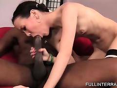 Skinny Asian gets extreme with black dick