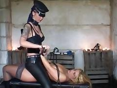 Busty blonde tortured in femdom action