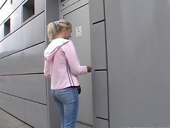She jerks a guy off then fucks him through a gloryhole