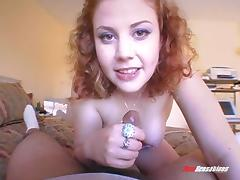 Redhead slut giving a good handjob and a good blowjob
