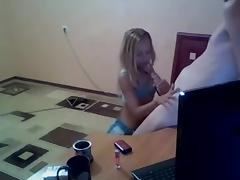 Making an amateur couple handjob video with my hottie
