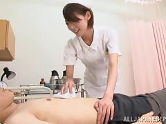 Japanese nurse jerks off and sucks a patient's pecker