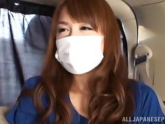 Masked Japanese girl gets fondled in the back of his car