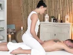 Classy massage babe sucking client