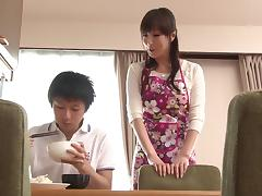 A sexy Japanese MILF hides in her bedroom fingering her hole