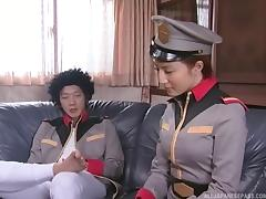 Uniform-clad Asian chick with big boobs enjoying a hardcore doggy style fuck