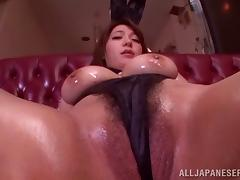 Oiled Asian chic with massive boobs got her cunt toyed hard till she dissolves in pleasure