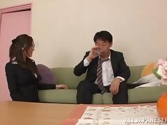 Big tits Japanese vixen rides a hard dong till orgasm