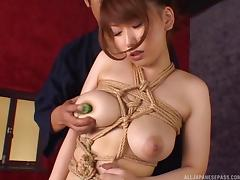Bubbly Japanese broad deepthroats a boner and gets fucked in a hot tit bondage action