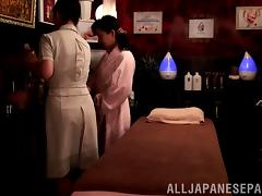 Skilled Asian masseuse is going to make her lesbian client cum