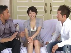 What an amazing MMF threesome scene along this accepting Japanese slut