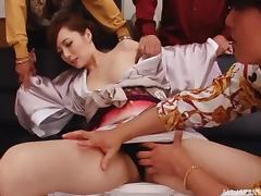 Insatiable Japanese bitch gets drilled madly in this MMF threesome scene