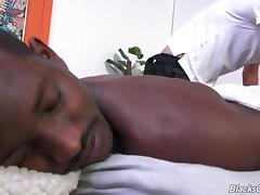 A white gay guy sucks then rides his black boyfriend's cock