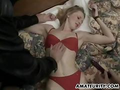 Blonde amateur has her anal spooked by two masked studs