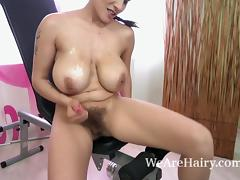 Mischel Lee exercises and strips naked on chair