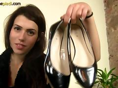Italian honey Dara Lee trying out different shoes and teasing