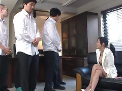 Hardcore gang bang action leaves Asian hottie with a face full of cum