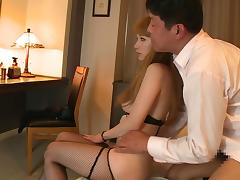 lingerie clad japanese slut licks my cock