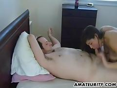 Busty amateur GF sucks and fucks with cum