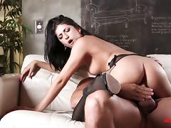 Brunette pornstar is eager to have his pulsating boner up her we slit