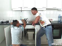 Housewife MILF gets her asshole fucked by two plumbers