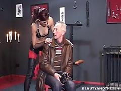 A wild lady having a great fuck session with her old slave