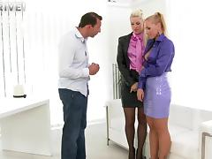 Glamorous blondes take turns on a stiff cumshooter hardcore