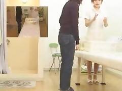Asian voyeur video with a slut jerking guy's rod