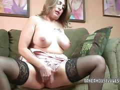 Mature slut Sandie Marquez plays with her Latina pussy