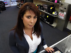Busty and Milf walks in and tries to sell old cards gets fucked