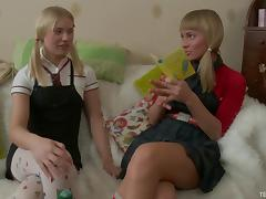 Cute lesbian teen with pigtails enjoying an awesome vibrator fuck