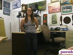Dirty babe pawns her pussy and railed by horny pawn man