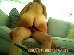 EXCITED GOLDEN-HAIRED GILF RIDES ON BED