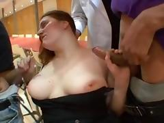 Fat sluts has a gangbang in a kitchen.