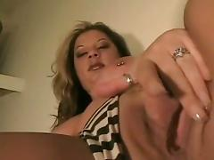 Milf show pussy then suck a bug cock