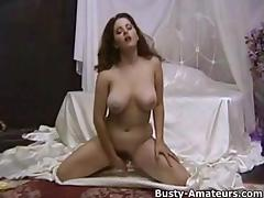 Busty amateur with great tits Jonees playing with dildo
